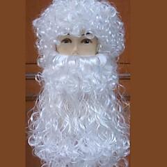White Santa Claus Curly Wig Costume Full Beard Christmas Santa Claus Xmas - White