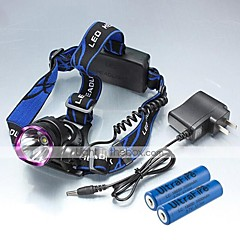 LT-0066  Rechargeble  3Mode   CREE XML L2   LED Headlight   Headlamp(2200LM.2X18650. Purple)