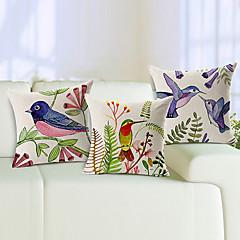 3 kpl elävä lintujen puuvilla / pellava koriste tyyny