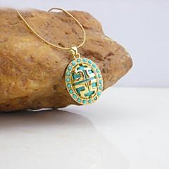18k oro plateado grandes líneas de la pared colgante de collar de turquesa