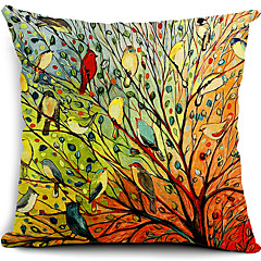 monivärinen linnut ja puu puuvilla / pellava koriste tyyny