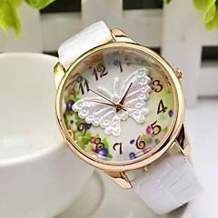 vrouwen nieuwe vlinder lederen band ronde quartz horloge (verschillende kleuren)