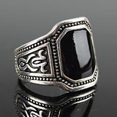 Z&X®  European Style Square Black Gem Men's Statement Ring