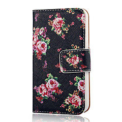 COCO FUN® Rose Black Pattern PU Leather Full Body Case with Screen Protector, Stand and Stylus for iPhone 4/4S