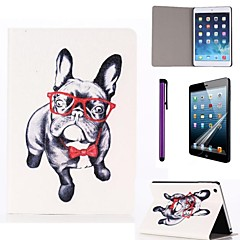 Glasses Dog Pattern PU Leather Case with Screen Protector and Stylus for iPad mini 1/2/3