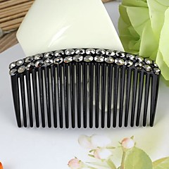 Double Black Rhinestone Plastic Comb Black (1Pc)