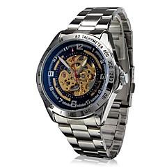 SHENHUA Męskie Zegarek na nadgarstek Nakręcanie automatyczne Grawerowane Stal nierdzewna Pasmo Srebro White Black