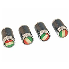 DIY Carbon Fiber Italian Flag Pattern Universal Tire Air Valve Caps--Black(4PCS)