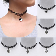 Vintage Stretch Tattoo Choker Gothic Punk Elastic Black Alloy Pendant Necklaces(1 Pc)