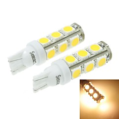 T10(149 168 W5W) 7W 13x5054SMD 480-560LM 3000-3500K Warm White Light for Car Light Parking Lamp(DC12-16V)