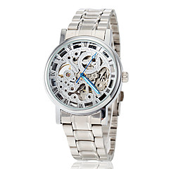 Men's Elegant Hollow Dial Steel Band Automatic Self Wind Dress Watch (Assorted Colors)