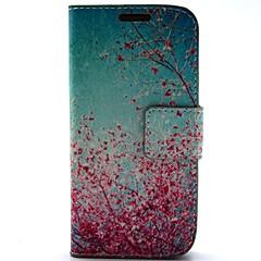 cseresznyevirág minta műbőr tokkal és kártyafoglalat a Samsung S4 mini i9190