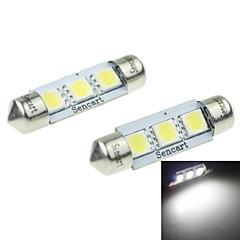 39mm (SV8.5-8) 2w 3x5054smd 120-160lm 6000-6500K weißes Licht LED-Lampe für Auto-Kennzeichenleuchte 2ST (DC12-16V)