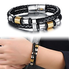 Fashion Titanium Steel Ring Gold Plated Multilayer Men Leather Braided Bracelet Jewelry Christmas Gifts