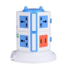 Overload Protector 5V/2.1A 2 Floor with 7 Universal Outlets and 2 USB US Adapter Power Strips