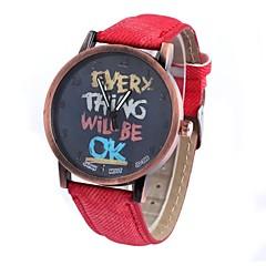son los hombres y de las mujeres del reloj neutral moda movimiento circular retro muñeca reloj de la cinta chino (colores surtidos)
