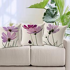 σετ 3 κομψά φως μωβ floral μοτίβο βαμβάκι / λινό κάλυμμα διακοσμητικό μαξιλάρι