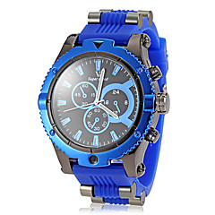 Men's Big Round Dial Gear Case Silicone Band Quartz Wrist Watch (Assorted Colors)