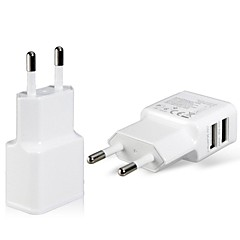 eu plug dual usb strømadapter vegglader for ipad, iphone& samsung