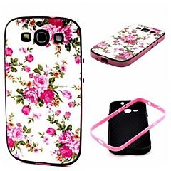 2-in-1 vaaleanpunainen ruusu pioni kuvio TPU takakansi pc puskurin iskunkestävä pehmeä kotelo Samsung S3 i9300