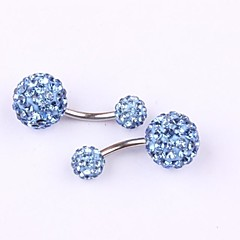 Women's Body Jewelry Navel Rings/Belly Piercing Stainless Steel Simulated Diamond Unique Design Fashion Jewelry Blue Pink Golden 1# 2#