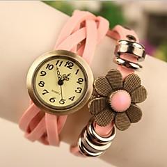 """Frauen 2015 der neueste """"Blume"""" Mode Leder japanische Quarz-Uhr (farbig sortiert)"""