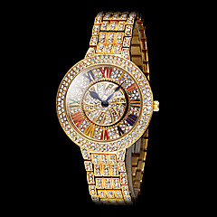 Women's Rotary Dial Diamante Case Roman Number Steel Band Quartz Fashion Watch