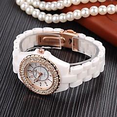Montre strass de la mode céramiques d'imitation du poignet quartz de haute qualité des femmes (couleurs assorties)