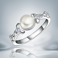 Fashion Pearl Silver Statement Ring For Wedding For Women (1 pc)