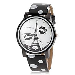 Frauen Eiffelturm Muster wählen pu-Band Quarz-Armbanduhr (farbig sortiert)