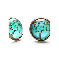Time Gem Life Tree Art Tree Glass Cabochon Earring (1 Pair)