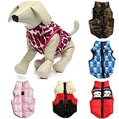Gatos / Perros Abrigos / Camiseta / Chaleco Rojo / Verde / Azul / Rosado / Beige / Rosa Ropa para Perro Invierno Lazo / camuflajeBoda /