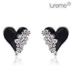 Lureme®Gold Plated Enamel Heart with Crystals Earrings