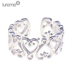 lureme®925 en argent sterling plaqué petit cœur anneau ouvert creuse