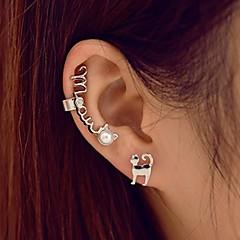 perla del gatito del gato miau lindo brazalete oído clip de oreja (2 piezas)