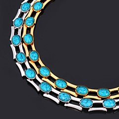 U7® Turquoise Stone Necklace Chain 18K Real Gold Platinum Plated