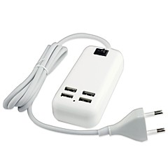 4 usb-poort desktop lader power adapter voor ipad / iphone en anderen (15w, DC5V 3a, 100 ~ 240v, eu stekker, 1,5 m)