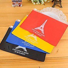 The Eiffel Tower Pattern PVC Zipper Storage Bag(Random Color)