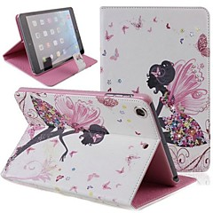 Butterfly Fairy Girl Inlaid Shiny Glitter Diamond PU Flip Protective Case Cover with Stand for iPad mini