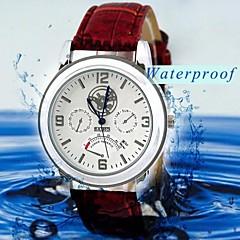 Men's Leather Strap Quartz Analog Wrist Watch