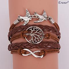 Eruner®Leather Bracelet Multilayer Alloy Love Birds Life Tree and Infinity Handmade