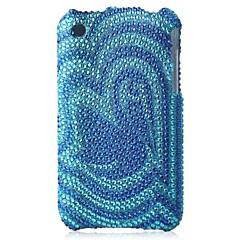 blå botten blomma bling fallet pc hårt fallet för iPhone 3G / 3GS