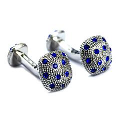 빈티지이 1.3cm 남자의 백금 도금 블루 다이아몬드 커프스 단추 (1 쌍)