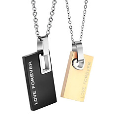 Fashion Silver Plated Stainless Steel Couple Square Pendant Necklace