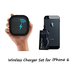 [Iphone wireless di ricarica set] caricatore qi wireless portatile e 0,6 millimetri super sottile sticker ricevitore wireless per iPhone 6