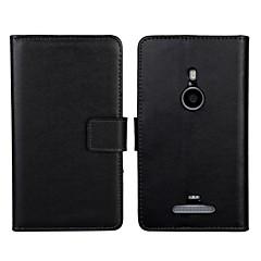 yksivärinen kuvio aitoa nahkaa koko kehon kotelo jalustalla ja korttipaikka Nokia Lumia 925