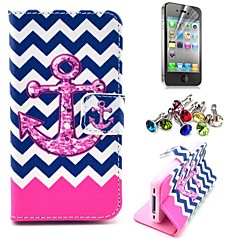 Wave and Anchor Pattern PU Leather Case with Screen Protector and Dust Plug for iPhone 4/4S