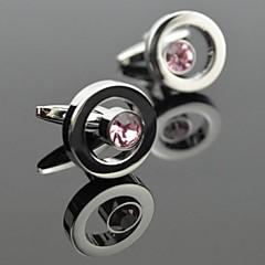 toonykelly mode mænds sølv kobber pink krystal cufflink (1 par)