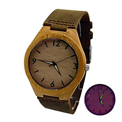 Men's Watch Bamboo Wooden Case Real Cow Leather Strap Luminous Retro Wrist Watch