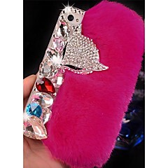 Fox Head Cony Hair Pattern Rhinestone Back Case for iPhone 4/4S (Assorted Color)